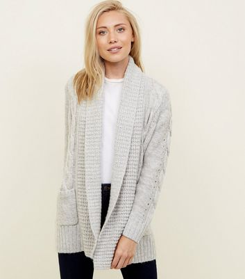 Petite Grey Cable Knit Cardigan