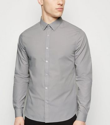 Pale Grey Long Sleeve Poplin Shirt
