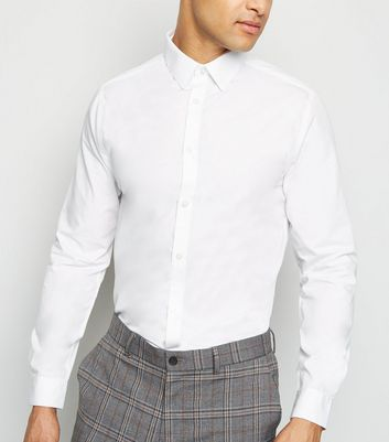 White Collared Long Sleeve Poplin Shirt