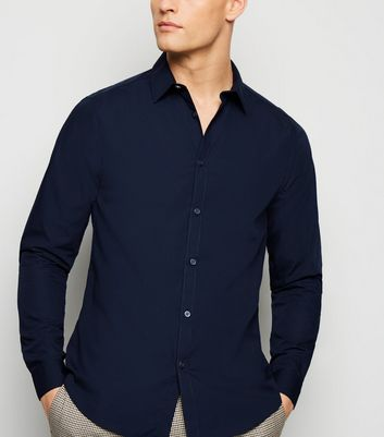 Navy Long Sleeve Poplin Shirt