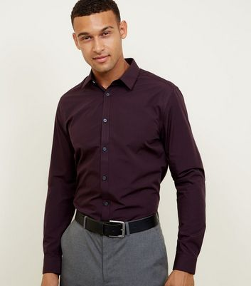 Burgundy Long Sleeve Poplin Shirt