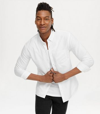 White Cotton Long Sleeve Oxford Shirt