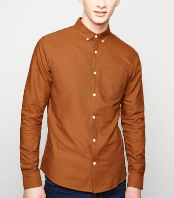Camel Cotton Long Sleeve Oxford Shirt