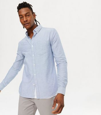 Pale Blue Cotton Long Sleeve Oxford Shirt