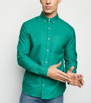 Teal Cotton Long Sleeve Oxford Shirt