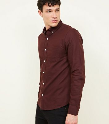 Burgundy Cotton Long Sleeve Oxford Shirt