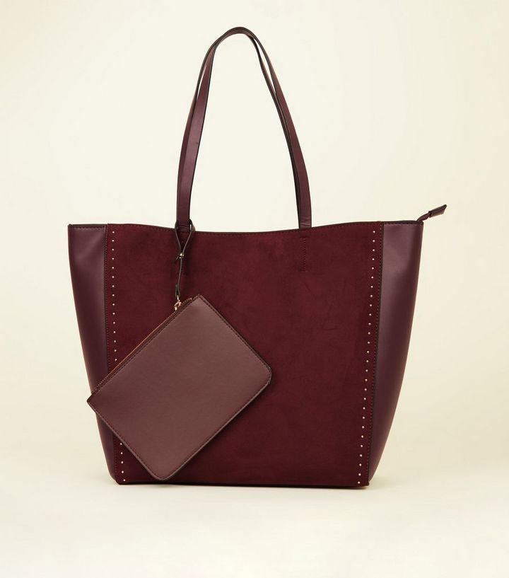 super cheap classic styles vast selection Burgundy Suedette Studded Tote Bag Add to Saved Items Remove from Saved  Items