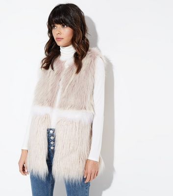 Pink Colour Block Faux Fur Gilet