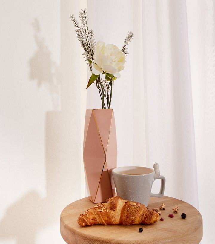 Pale Pink Metallic Trim Large Geometric Vase New Look