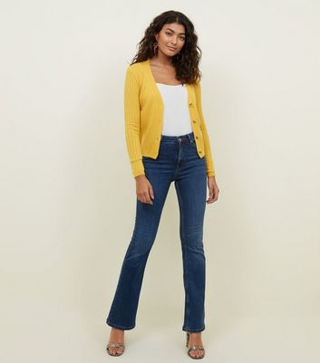 Mustard Ribbed Button Up Cardigan