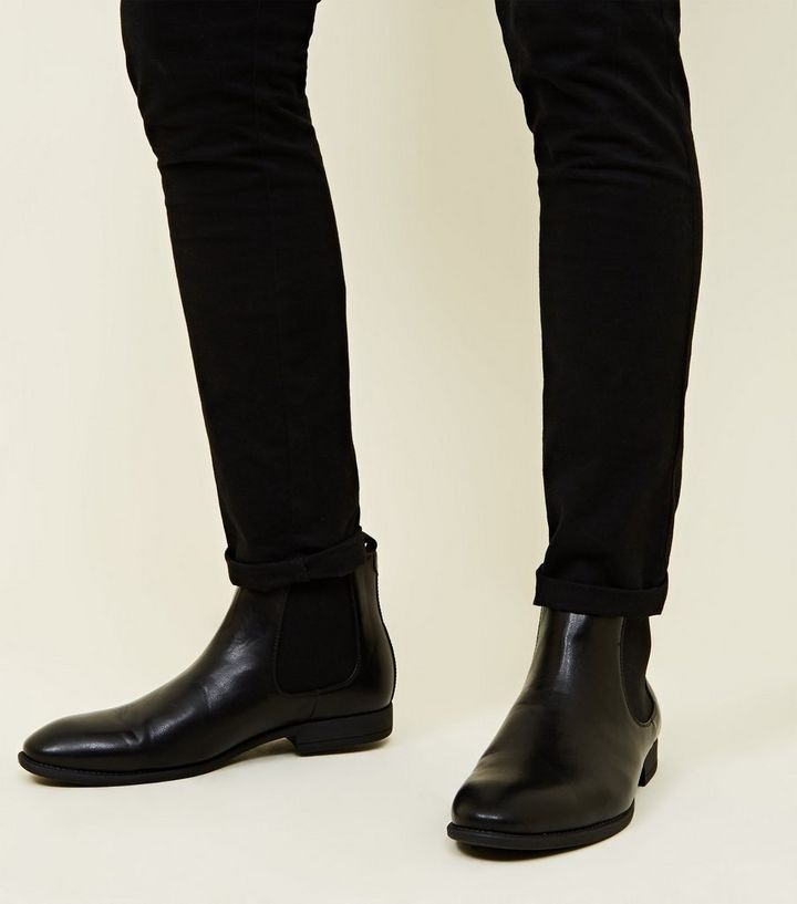 a3df9e021508 Black Leather-Look Chelsea Boots