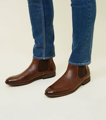 Dark Brown Leather-Look Chelsea Boots