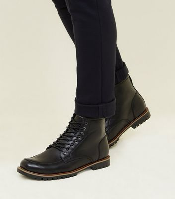 Black Cleated Sole Hiker Style Boots