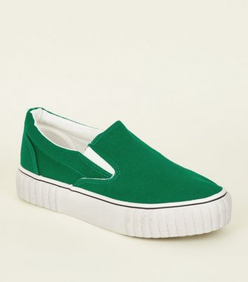Green Canvas Slip On Chunky Trainers