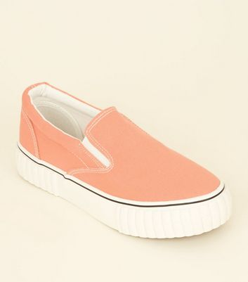 Coral Canvas Slip On Chunky Trainers