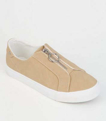 Camel Leather-Look Ring Zip Slip On Trainers