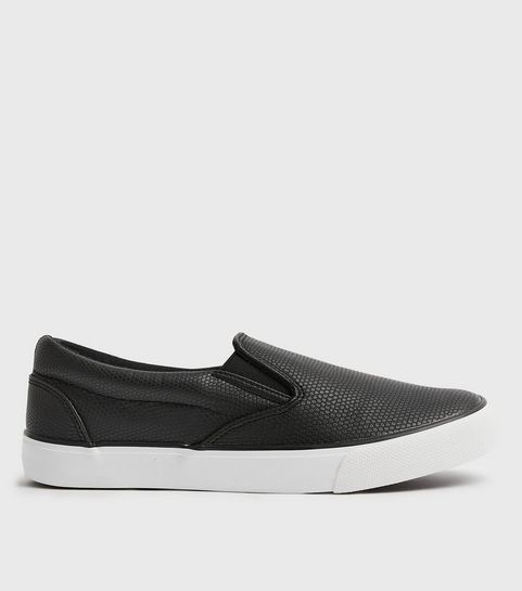 68f9a301f5 ... Black Faux Snake Slip On Trainers ...