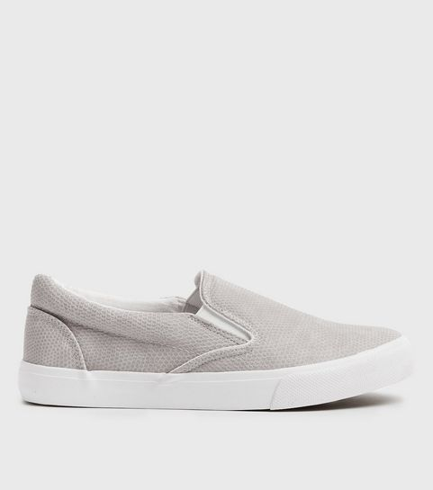 643d9872458 ... Grey Faux Snake Slip On Trainers ...