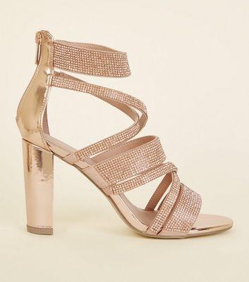 Rose Gold Diamanté Strappy Block Heels