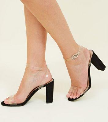 Black Clear Strap Block Heel Sandals