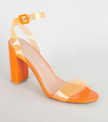 Orange Neon Clear Strap Block Heels