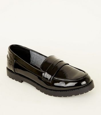 Girls Black Patent Chuncky Sole Loafers