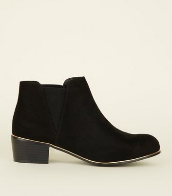 Girls Black Suedette Gold Piped Edge Ankle Boots