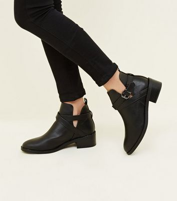 Black Leather-Look Cut-Out Ankle Boots