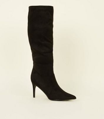 Black Suedette Knee High Pointed Stiletto Boots