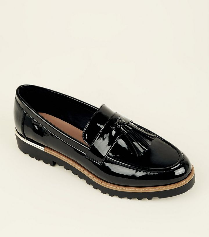 c3072bff868 Black Patent Tassel Front Chunky Loafers