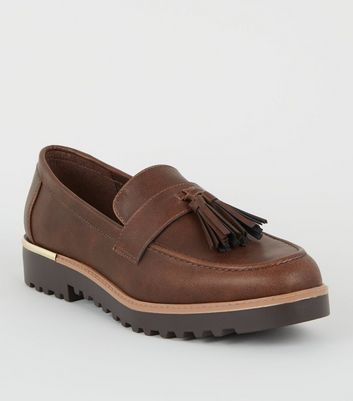 Dark Brown Tassel Front Chunky Sole Loafers