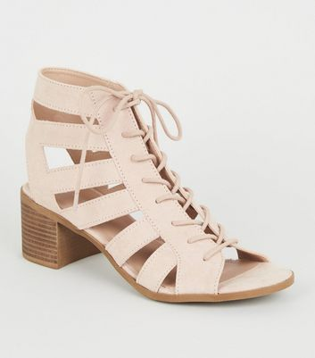 Nude Suedette Cut Out Mid Heel Ghillie Sandals
