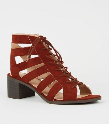 Rust Suedette Cut Out Mid Heel Ghillie Sandals