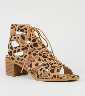 Brown Animal Print Mid Heel Ghillie Sandals