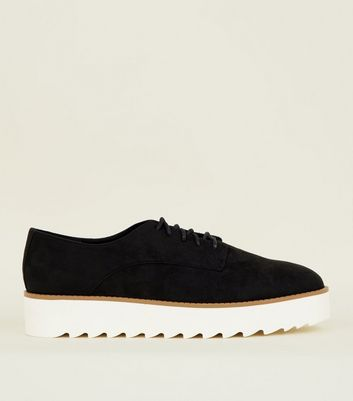 Black Suedette Lace Up Flatforms