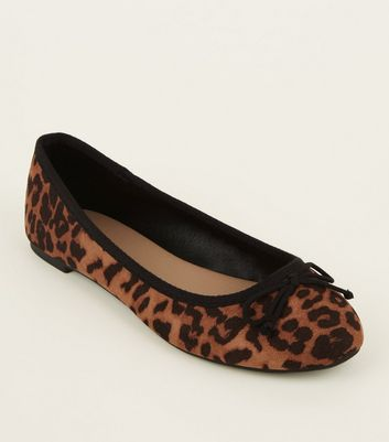 Wide Fit Stone Leopard Print Ballerina Pumps