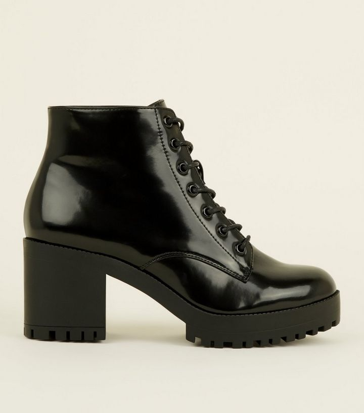 c7e629e323f4 Black Patent Lace Up Chunky Ankle Boots