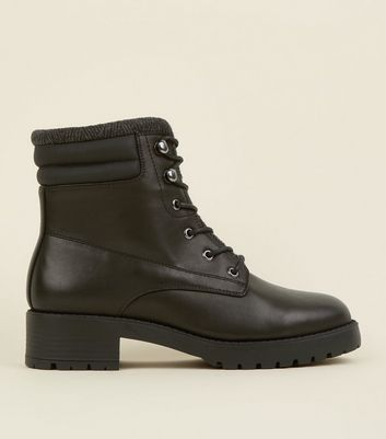 Black Leather-Look Chunky Hiker Boots