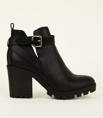 Wide Fit Black Leather-Look Chunky Heeled Boots