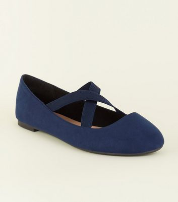 Wide Fit Navy Suedette Cross Strap Ballerina Pumps