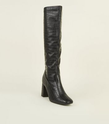 Black Faux Croc Block Heel Knee High Boots