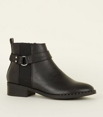 Black Studded Low Heel Chelsea Boots
