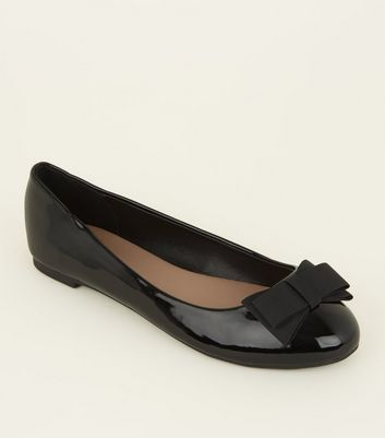 Wide Fit Black Patent Bow Ballet Pumps