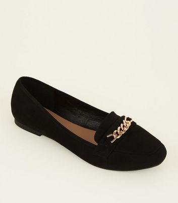 Wide Fit Black Suedette Chain Loafers