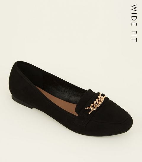 816f97ee931 ... Wide Fit Black Suedette Chain Loafers ...