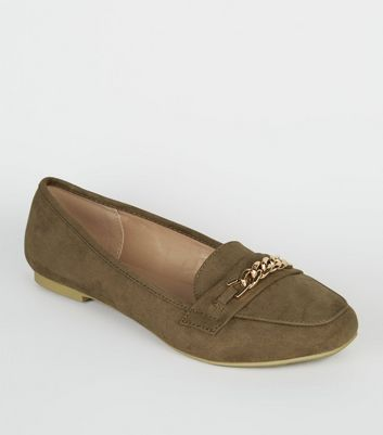 Wide Fit Khaki Suedette Chain Loafers