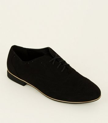 Wide Fit Black Suedette Piped Edge Brogues