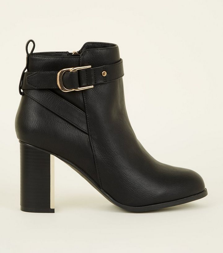 258d3697b80 Wide Fit Black Metal Block Heel Ankle Boots Add to Saved Items Remove from  Saved Items