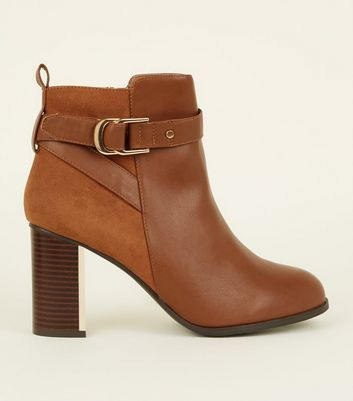 Wide Fit Tan Metal Block Heel Ankle Boots