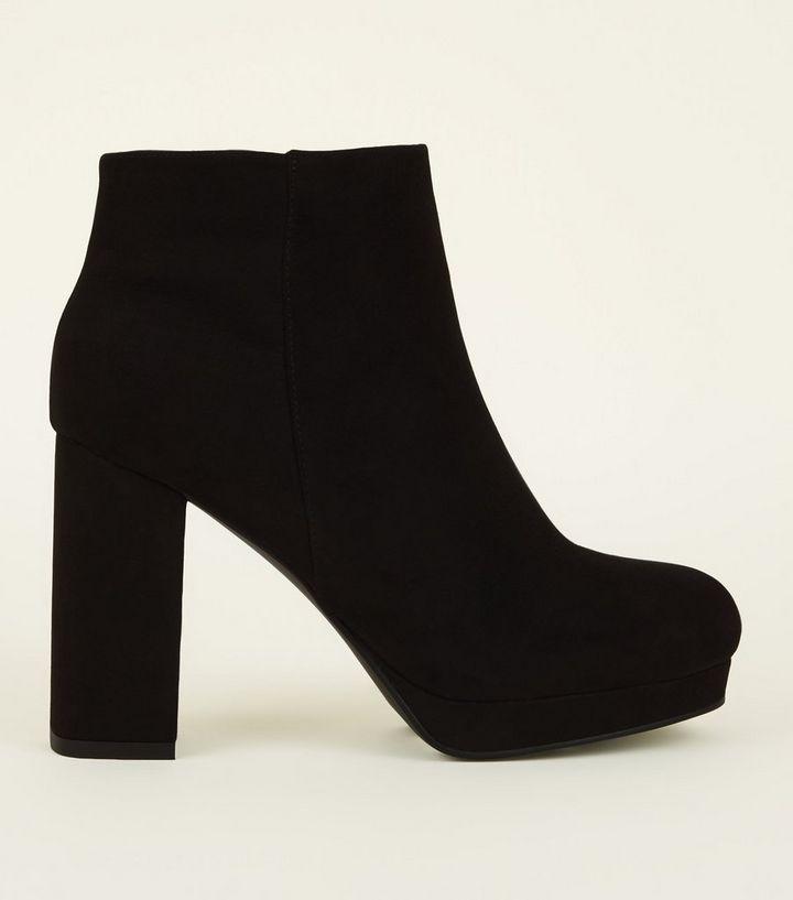 403d0e73a0a8 Wide Fit Black Square Toe Platform Ankle Boots